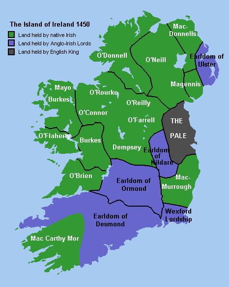 Mapa del Irlanda en 1450