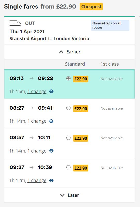 Horarios con precios de ejemplo de Stansted a Victoria