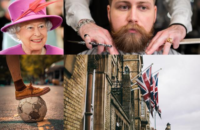 portada del artículo con la reina Isabel, un hombre con barba, una pelota de futbol y banderas británicas
